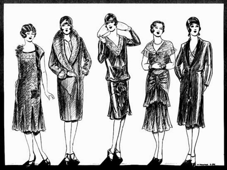 1920s Black And White Drawing by Mel Thompson