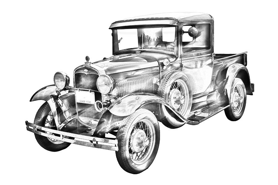 1930 Model A Ford Pickup Truck IIlustration Photograph by
