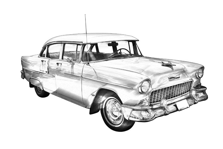 1955 Chevrolet Bel Air Illustration Photograph by Keith