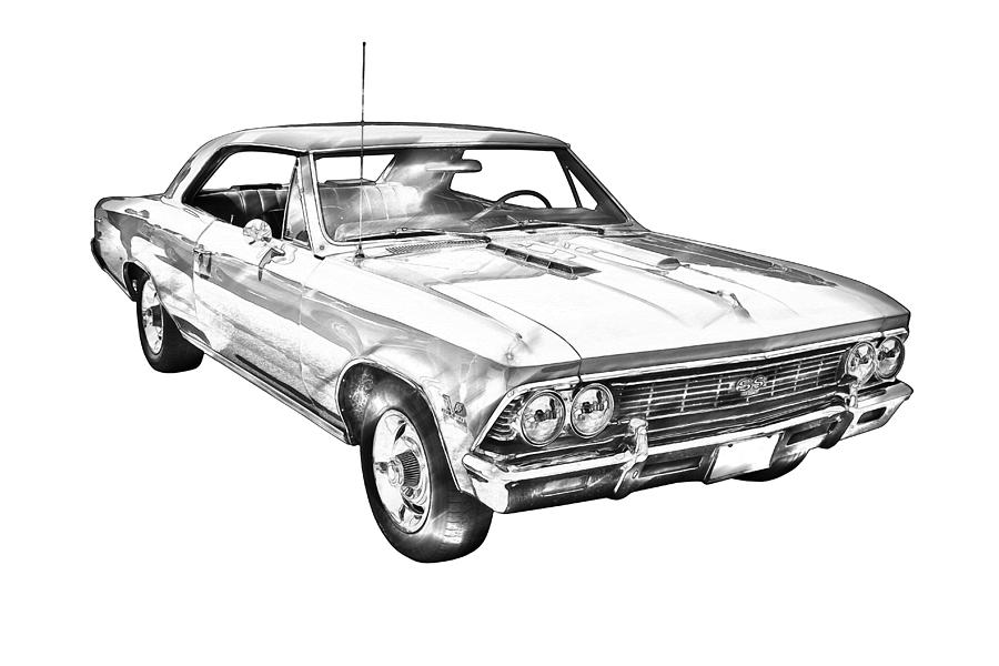 1966 Chevy Chevelle Ss 396 Illustration Photograph by