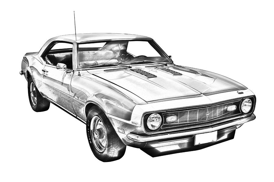 1968 Chevrolet Camaro 327 Muscle Car Illustration