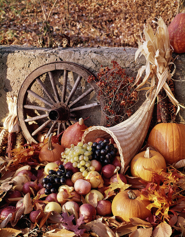 1970s Harvest Cornucopia Filled Photograph By Vintage Images