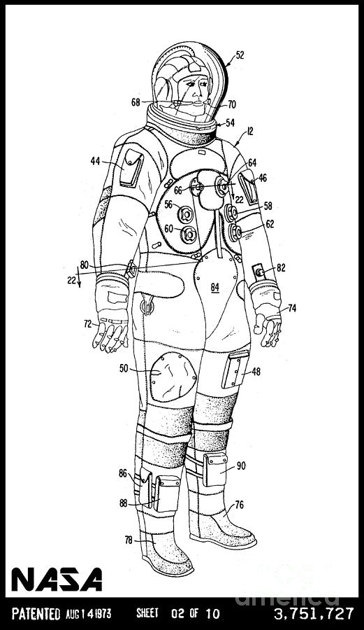 1973 Nasa Astronaut Space Suit Patent Art 3 Drawing by