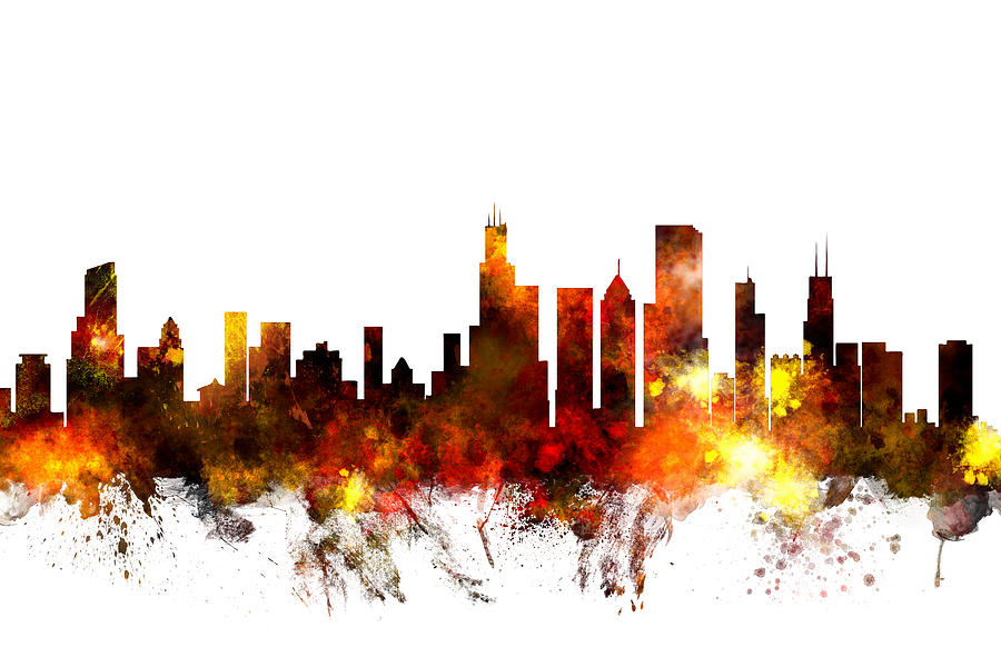 Chicago Illinois Skyline Digital Art By Michael Tompsett