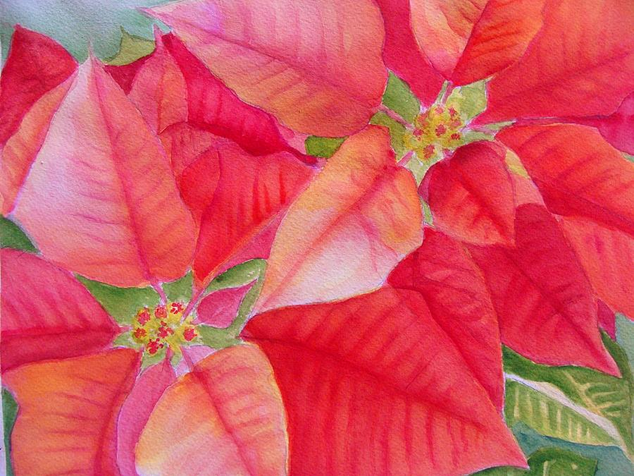2012 Poinsettia Painting By Jane Wong