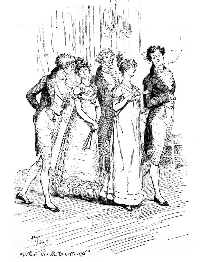 Scene From Pride And Prejudice By Jane Austen Drawing by