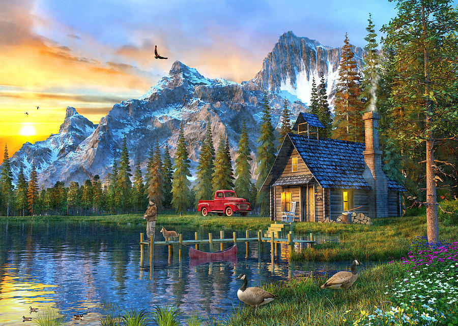 Falling Snow Live Wallpaper For Iphone Sunset At Log Cabin Painting By Dominic Davison