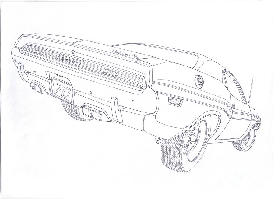 70'dodge Challenger Rt Drawing by Kaan Ipek