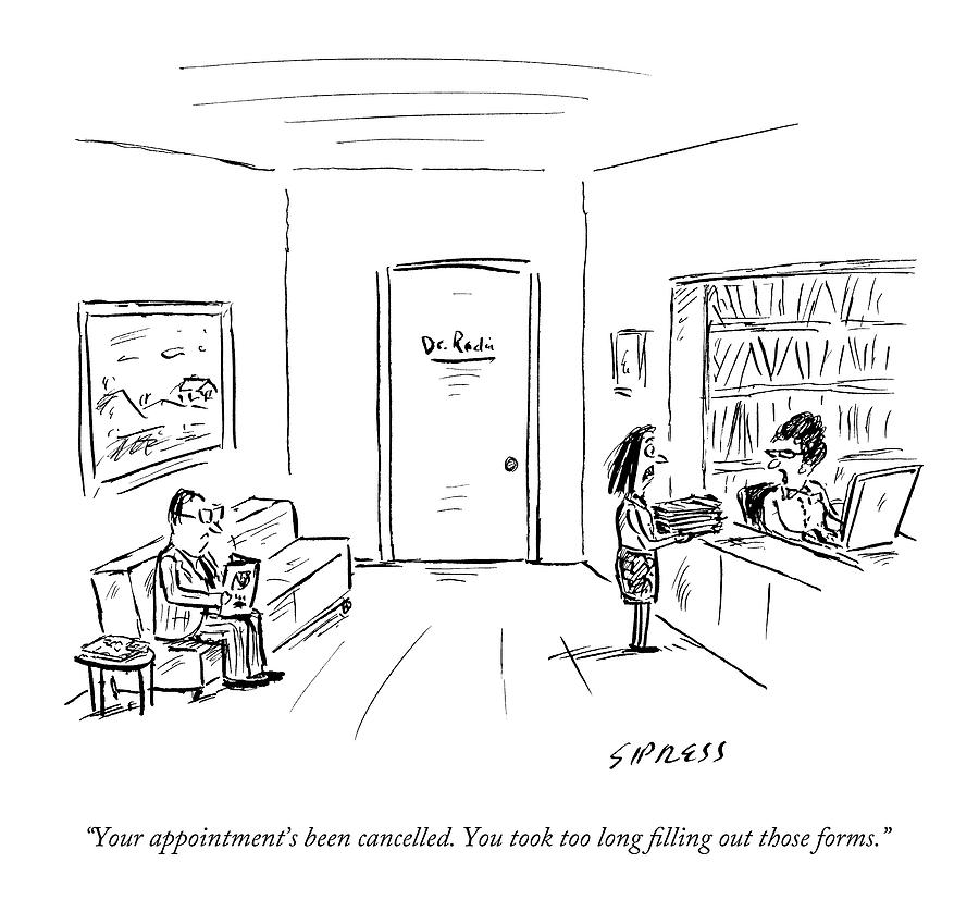 A Doctor's Office Receptionist Says To A Woman by David