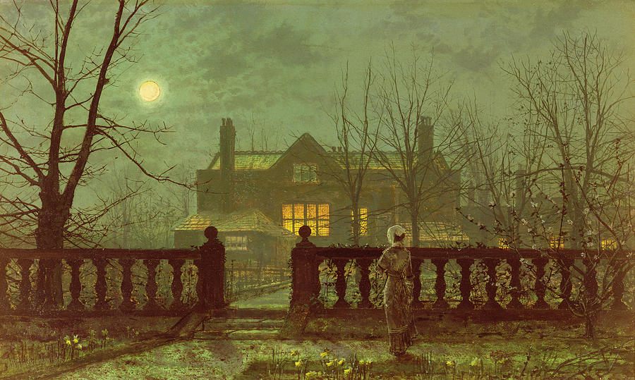 Grimshaw Painting - A Lady In A Garden By Moonlight by John Atkinson Grimshaw