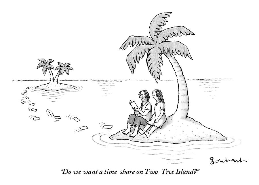 A Man And A Woman Are On A Small Deserted Island Drawing