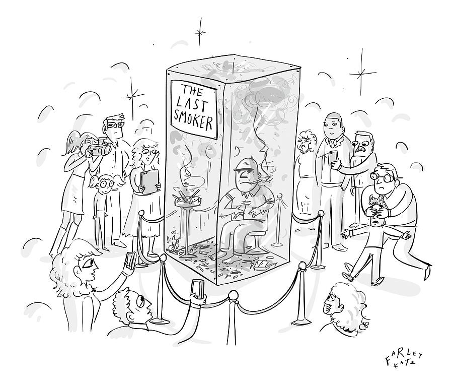 A Man Smokes Cigarettes In A Glass Box Drawing by Farley Katz
