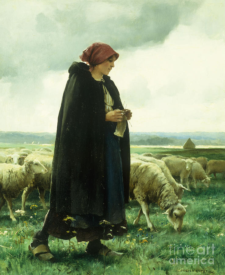 A Shepherdess With Her Flock Painting By Julien Dupre