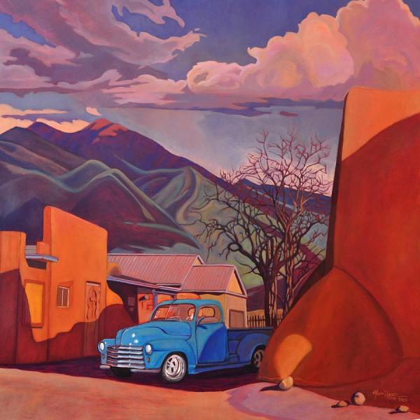 Teal Truck In Taos Painting Art West
