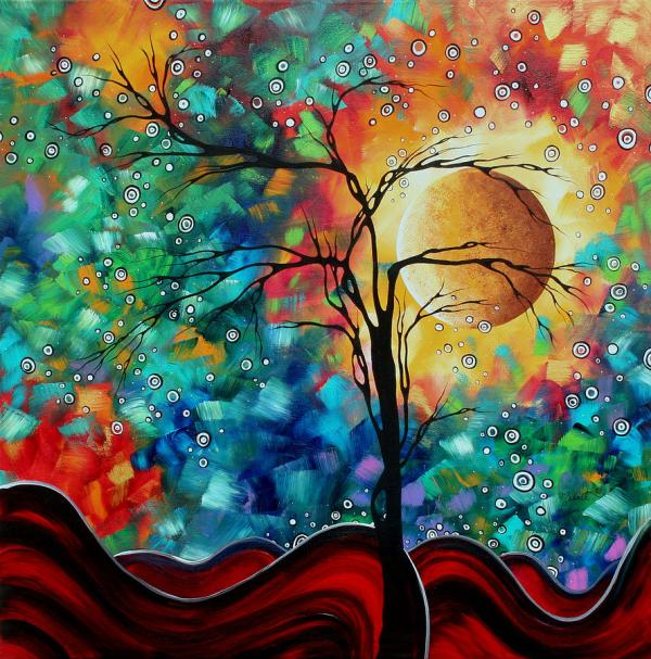Abstract Art Original Whimsical Modern Landscape Painting