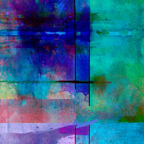 Abstract-art-rhapsody In Blue Square Ann Powell