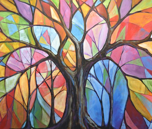 Abstract Original Tree Art Painting Colors Of The Wind Painting By Amy Giacomelli