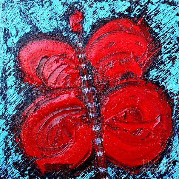 Abstract Red Happy Butterfly Painting Ana Maria Edulescu