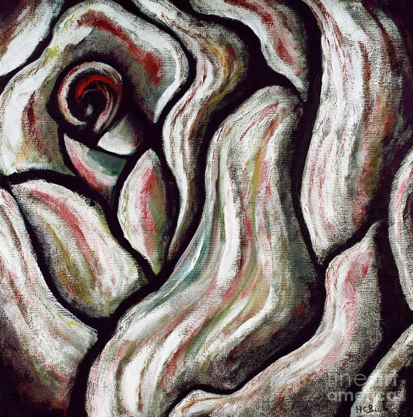 Abstract Rose Flower Beautiful Black White Red Artwork