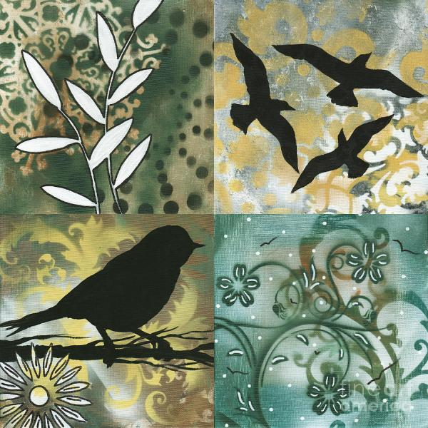 Abstract Whimsical Decorative Bird Art Original Paintings