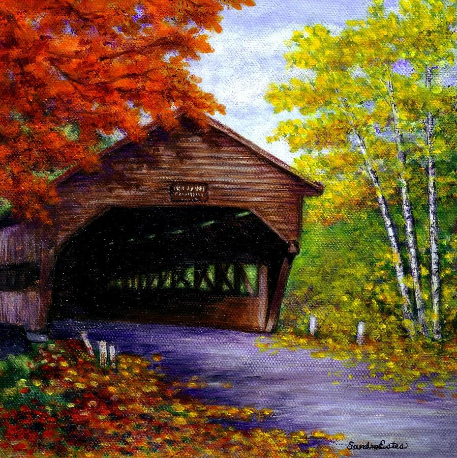 Fall Mountain Scenes Wallpaper Albany Covered Bridge Painting By Sandra Estes