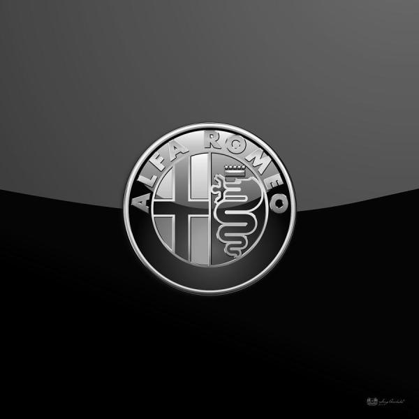 Alfa Romeo - Silver 3d Badge Black Digital Art Serge