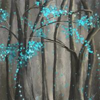 Alleviation- Gray And Turquoise Art Painting by Lourry Legarde