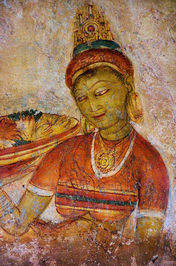 Apsara With Flowers Sigiriya Cave Painting Photograph by