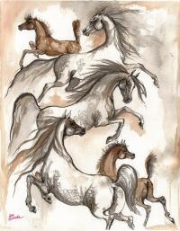 Arabian Horses Ink Painting 2014 04 12 Painting by Angel ...