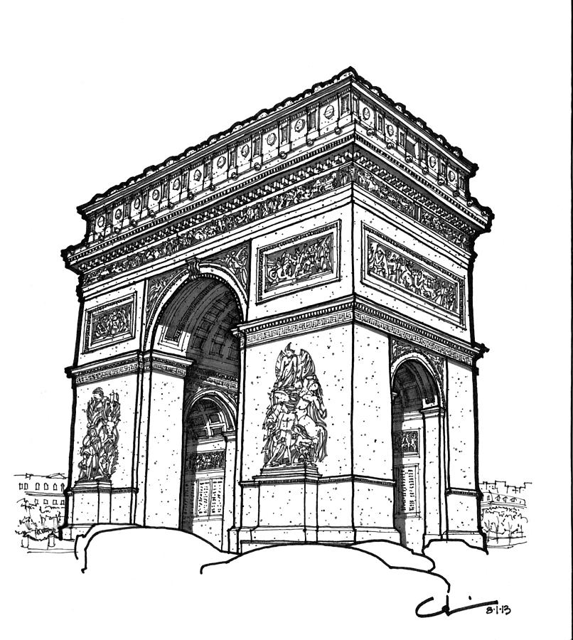 Arc De Triomphe Drawing by Calvin Durham