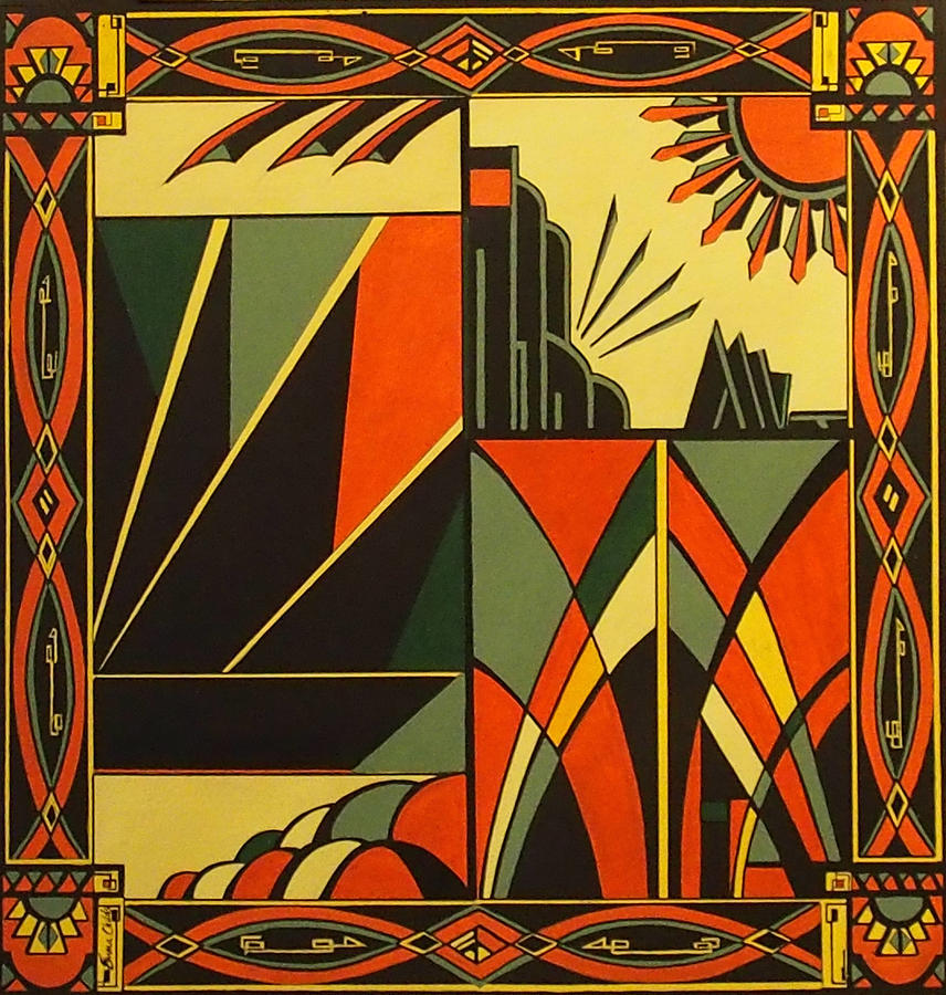 Art Deco In Orange Painting By Emma Childs