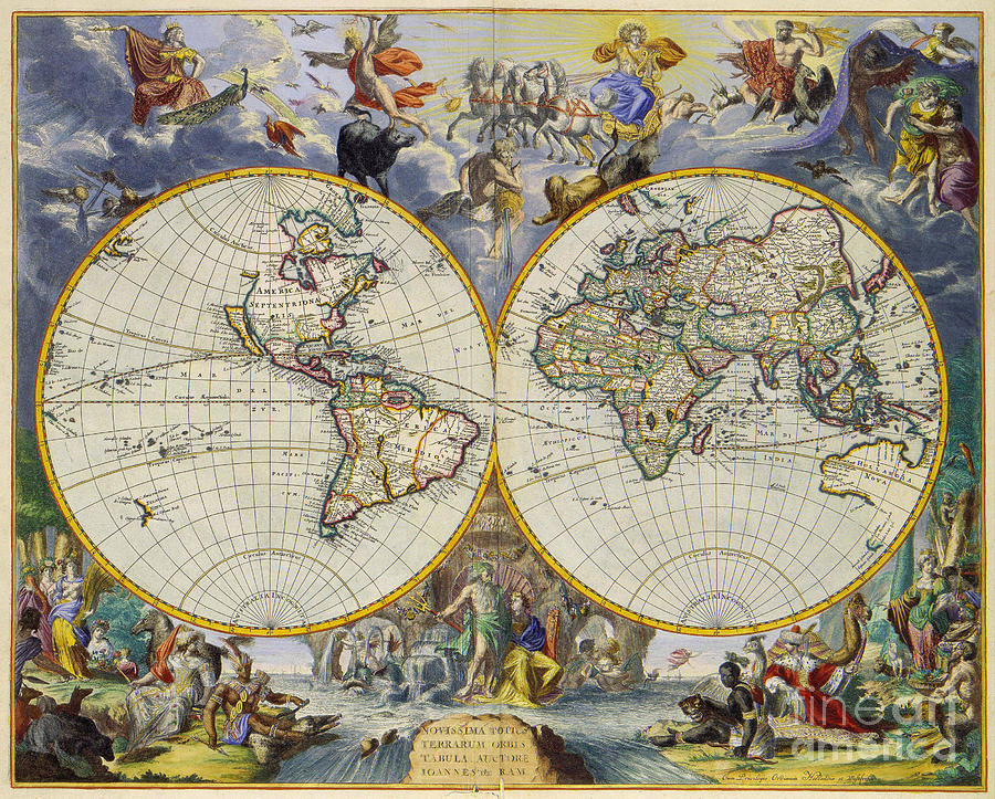Artistic Old World Art Map Photograph by Inspired Nature