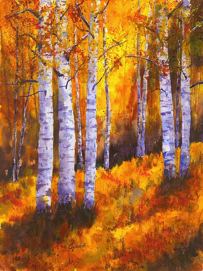 Birch Tree Fall Wallpaper Close Up Aspen Trees Painting By Barb Capeletti