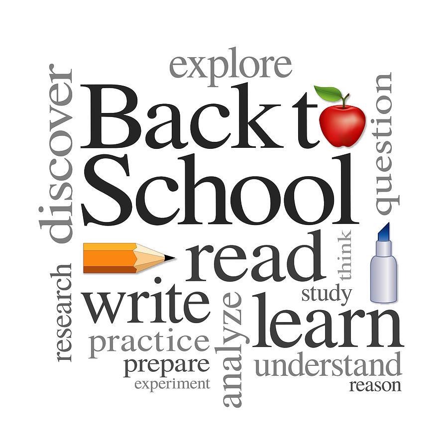 Back To School Word Cloud Digital Art by J M Designs