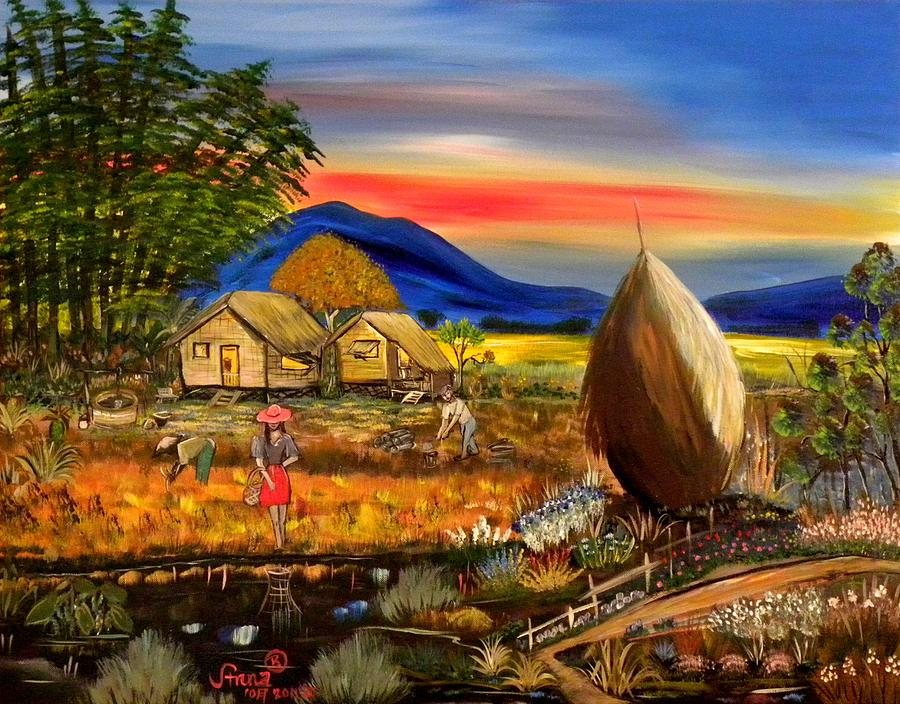 Fall Harvest Iphone Wallpaper Bahay Kubo Philippines Painting By Anna Baker