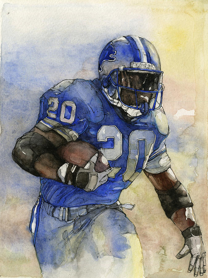 Adrian Peterson Wallpaper Iphone Barry Sanders Painting By Michael Pattison