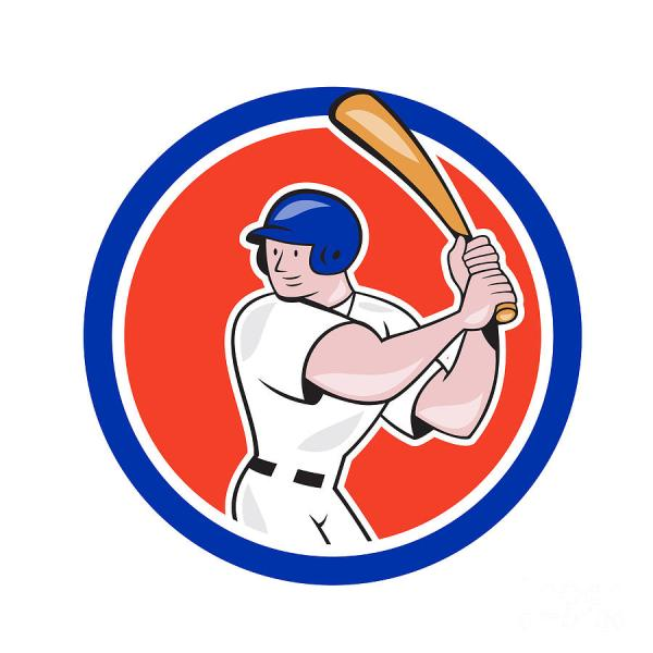 Baseball Player Batting Circle Side Cartoon Aloysius Patrimonio - Royalty Free And Rights