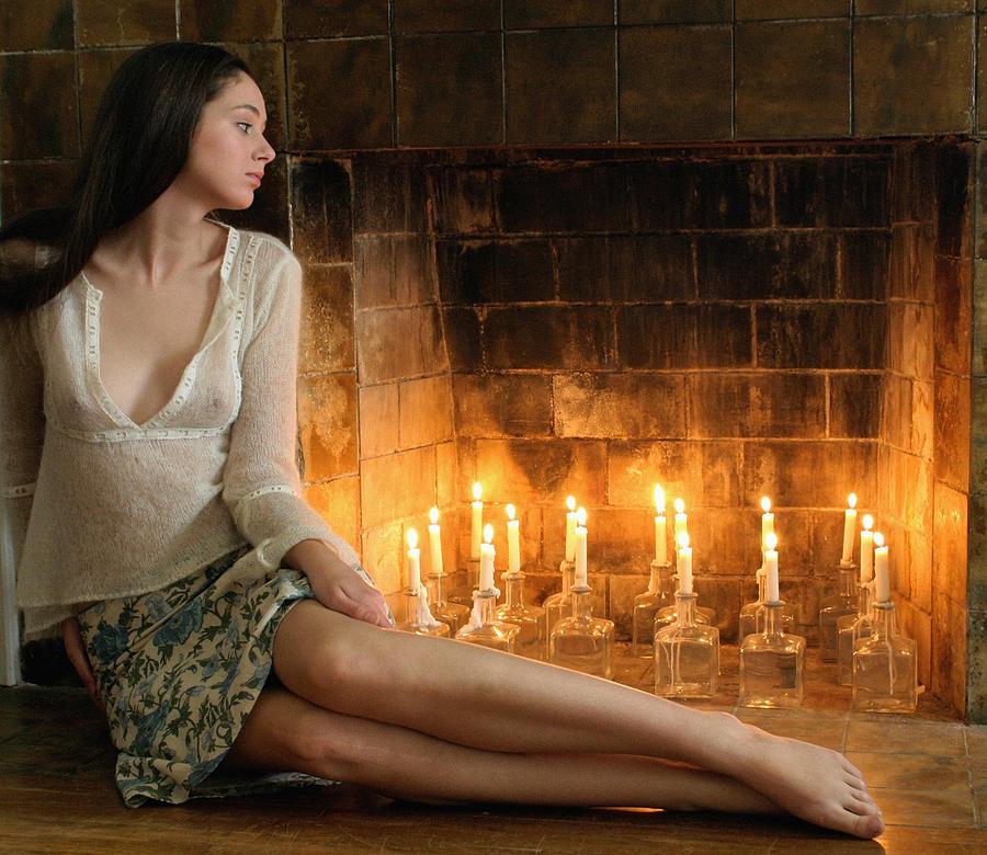 Beautiful Girl By Fireplace Photograph by Bijan Studio