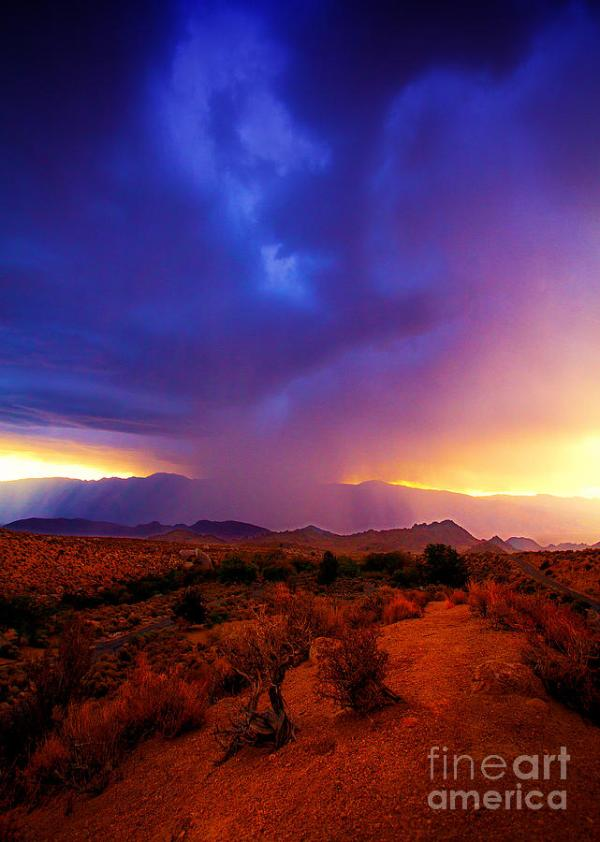 Beautiful Rain Storm Sunrise In The Scenic Desert With