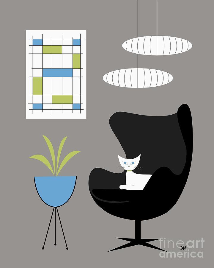 Black Egg Chair Digital Art by Donna Mibus