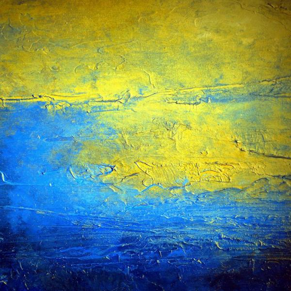 Blue And Yellow Abstract Painting Sirius Brightest Glow In Night Sky Holly