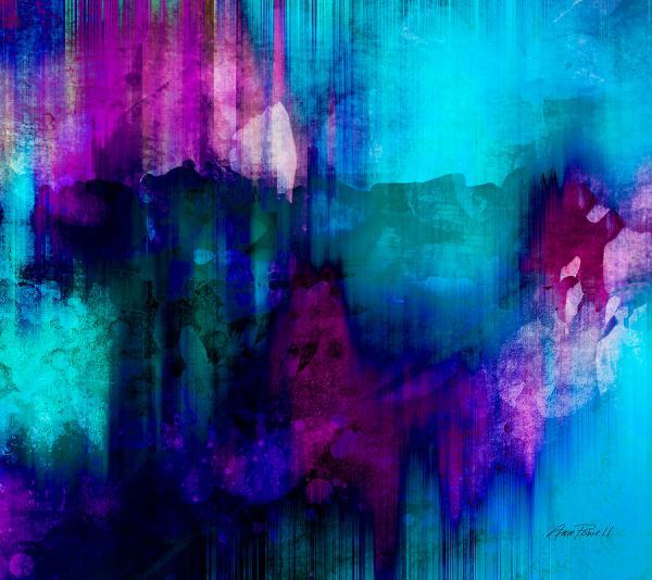 Blue Rain Abstract Art Painting Ann Powell