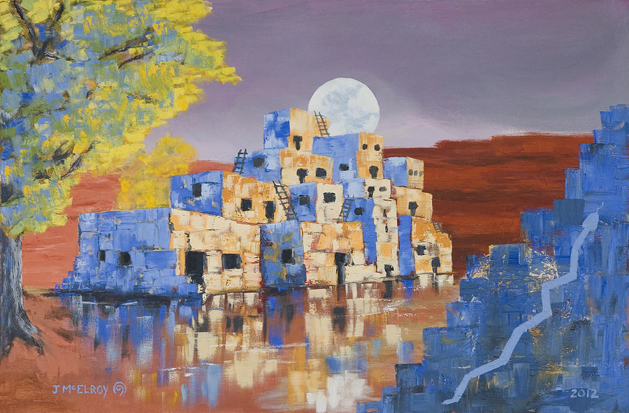 Blue Serpent Pueblo Painting by Jerry McElroy