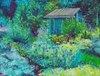 Blue Shed Painting by Susan Hanna