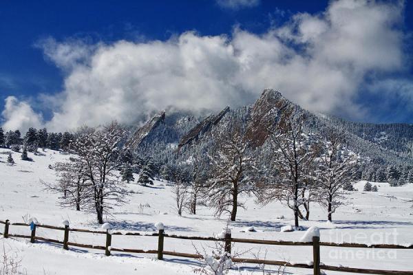 boulder colorado flatirons snowy