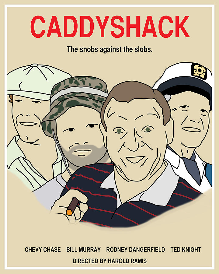 caddyshack movie poster colour by finlay mcnevin