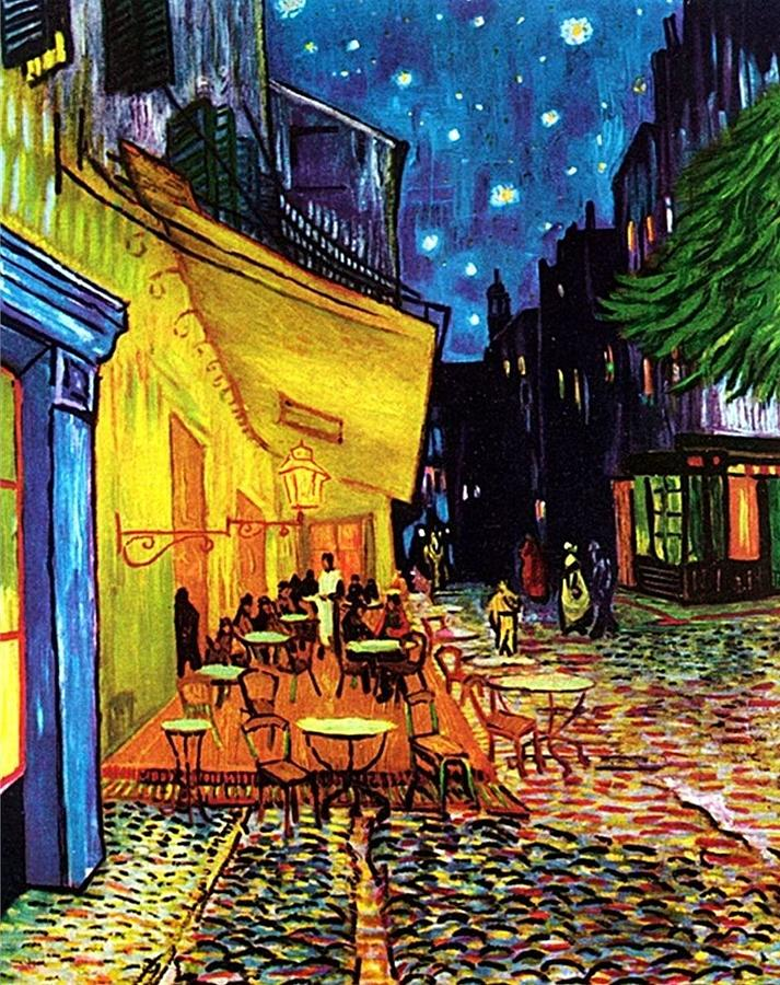 Cafe Terrace Place Du Forum At Night Painting by Pam Neilands