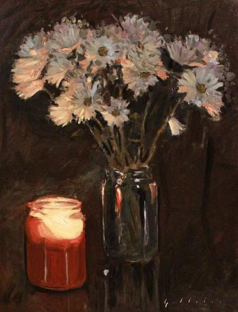 Candle Illuminates Flowers Painting by Derek Gollaher