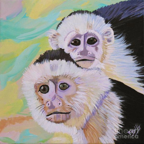 Capuchin Monkeys Painting by Phyllis Kaltenbach