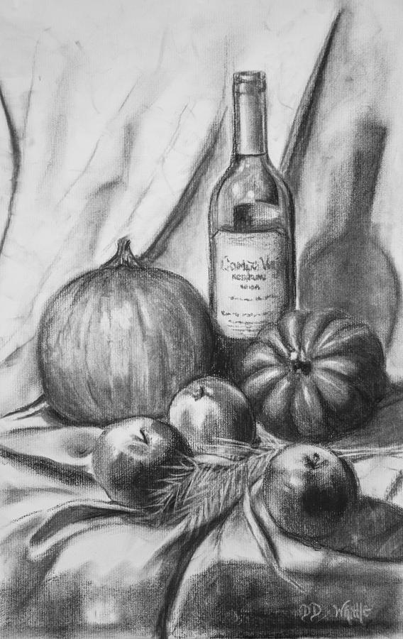 Charcoal Still Life Harvest Drawing by Dee Dee Whittle